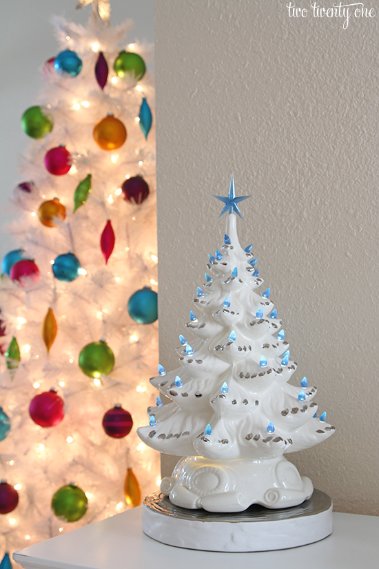 vintage white christmas tree with blue lights