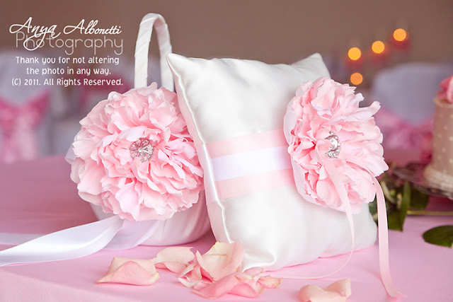 Pink peony flower girl basket and ring bearer pillow