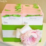 pink and green wedding programs and box 1