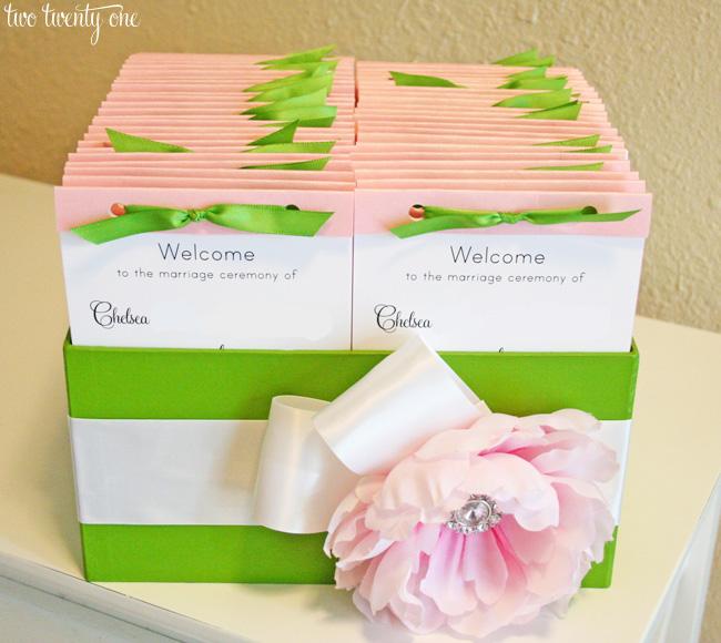 pink and green wedding programs and box 1