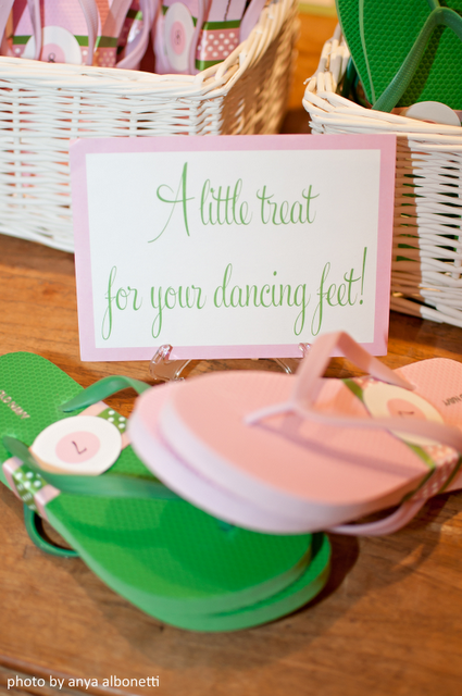 Wedding reception flip flop basket!