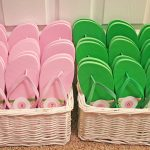 Wedding reception flip flop baskets!