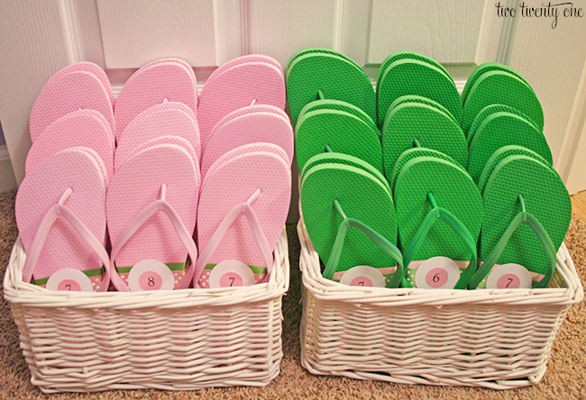 Wedding reception flip flop baskets!