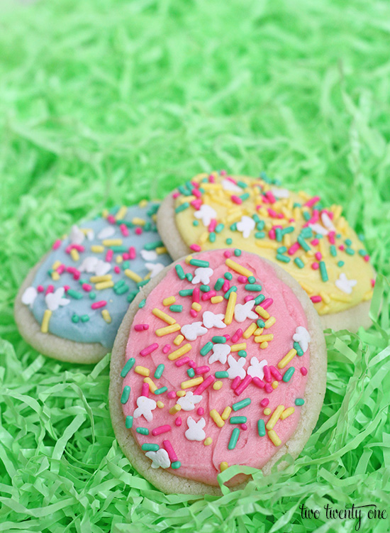 Easter Egg Cookies! Taste like Lofthouse cookies and so easy to make! No rolling or cutting needed!