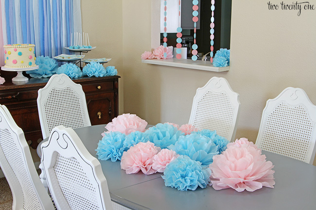 gender reveal party centerpiece