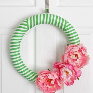 green and pink summer wreath