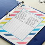 laundry organization binder