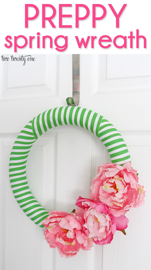 Preppy spring wreath!  Costs less than $15 to make!
