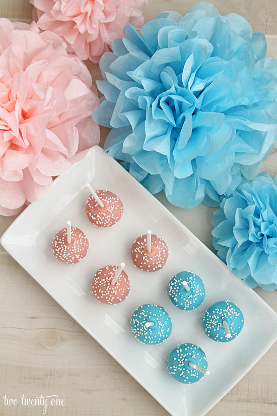 pink and blue cake pops