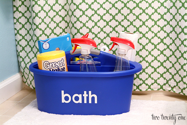 organized bathroom cleaning caddy