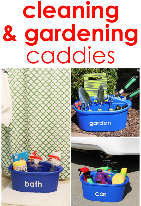 Organized cleaning and gardening caddies!  Easy to make and inexpensive!