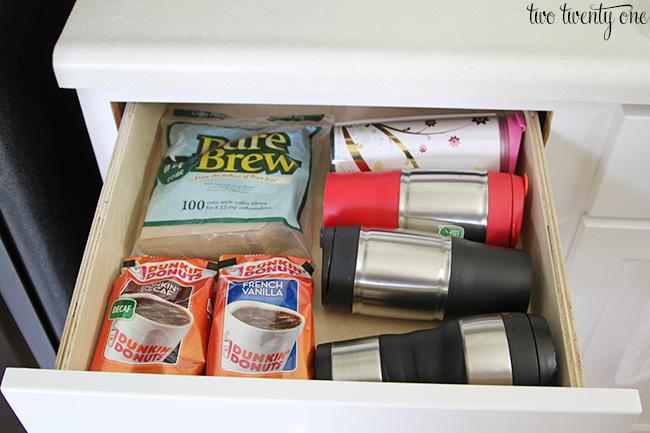 organized coffee drawer