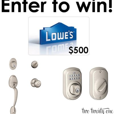 $500 Lowes Gift Card + Schlage Giveaway