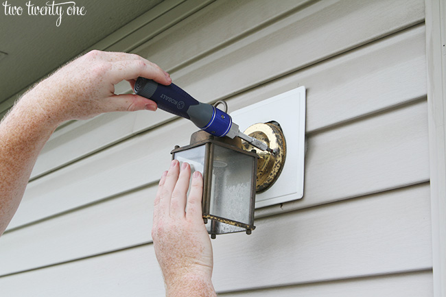 removing old outdoor light