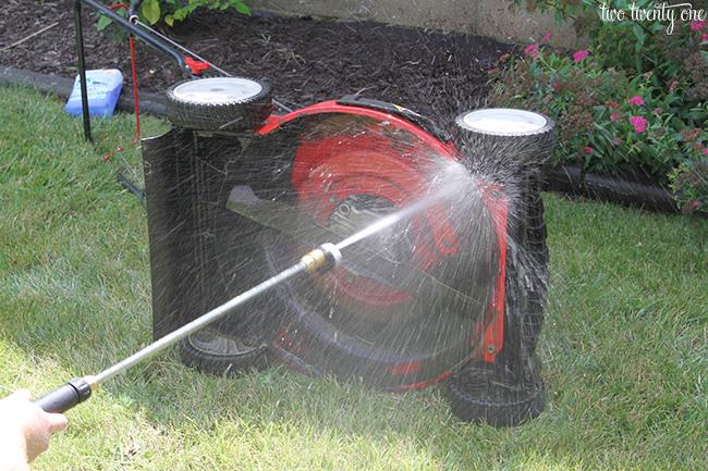 power washing lawn mower