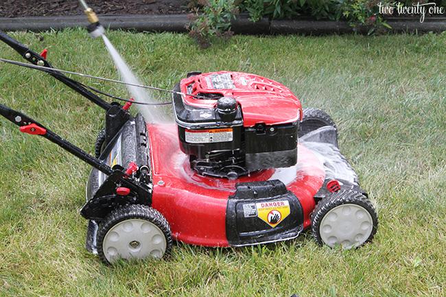 pressure washing lawn mower