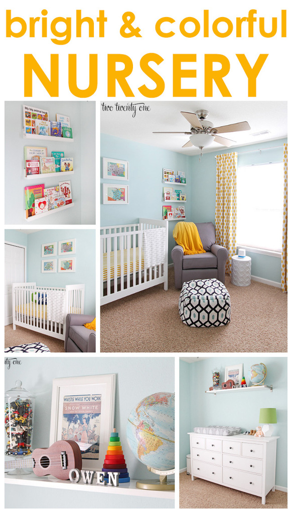 LOVE this bright and colorful nursery!