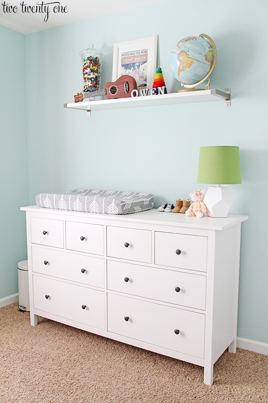 Nursery dresser organization for Ikea hemnes vanity table