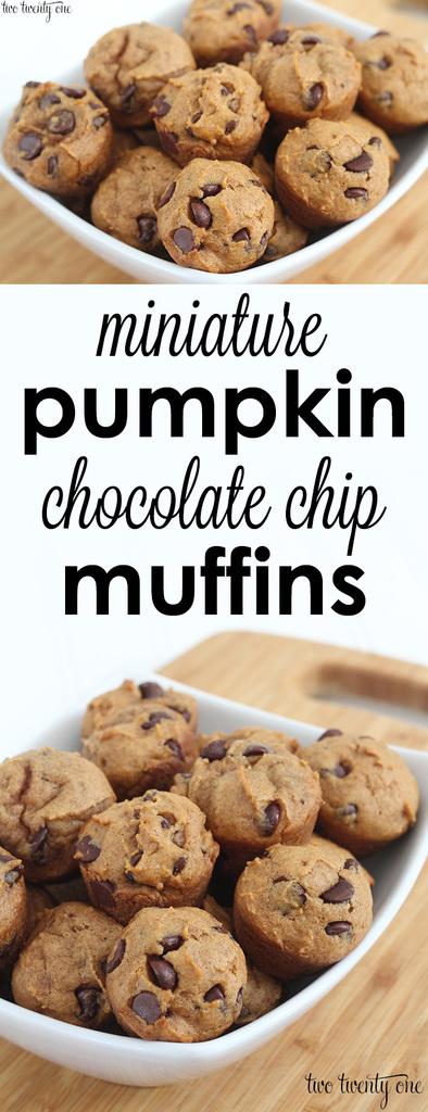 The BEST mini pumpkin chocolate chip muffins!