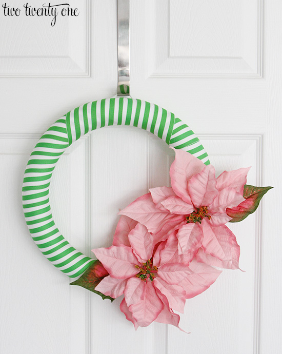 pink and green holiday wreath 550