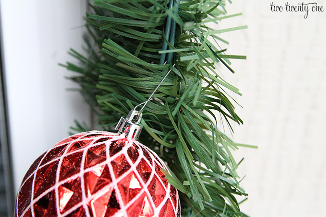 attaching ornament to garland