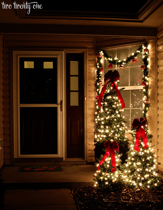 christmas front porch at night