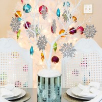 silver and blue centerpiece