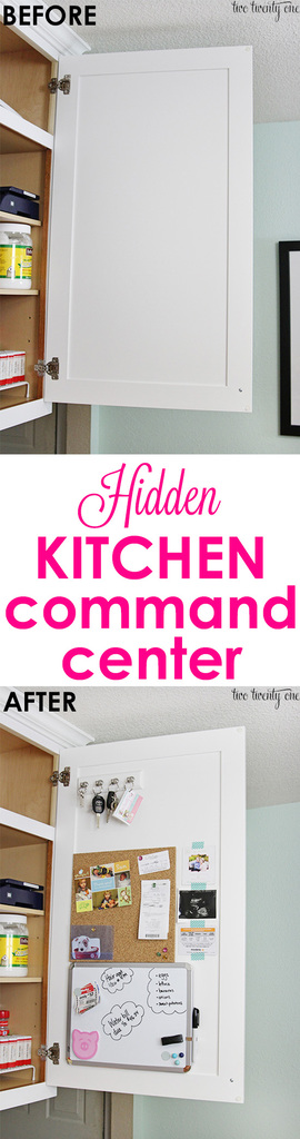 Hidden kitchen command center!  Non-permanent so it's prefect for homeowners OR renters!