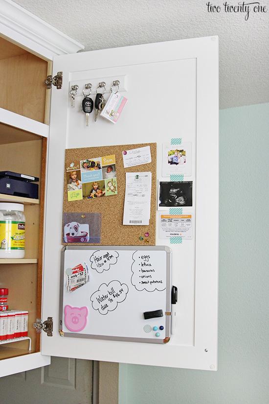 hidden kitchen command center rh twotwentyone net kitchen cork board message center chalk and cork board kitchen