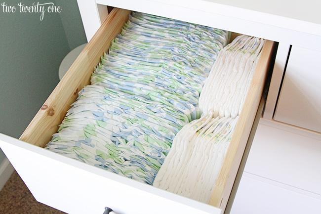 diaper organization. Nursery Dresser Organization Update