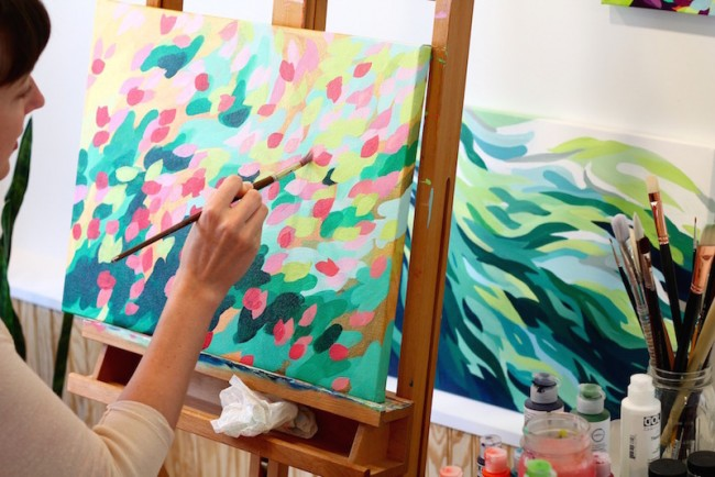 Michelle Schneider at work in her studio