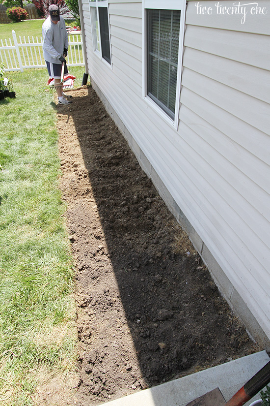 putting in flowerbed