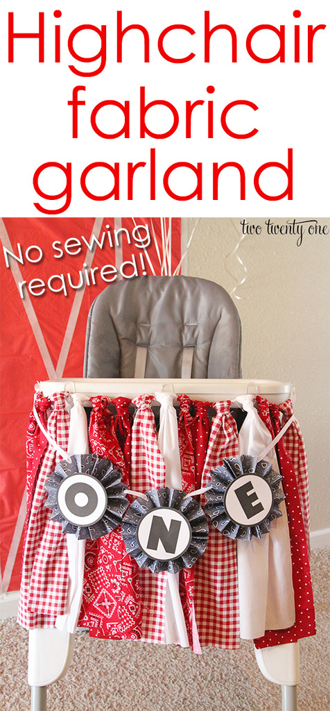 Highchair fabric garland! No sewing required! Great for birthdays!