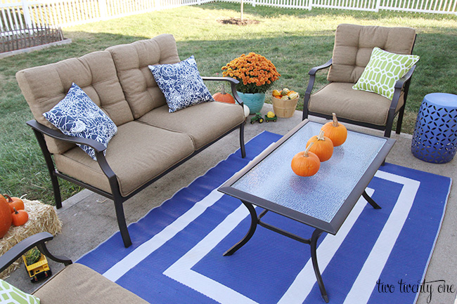 back patio decorated for fall