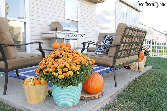 back porch decorated for fall