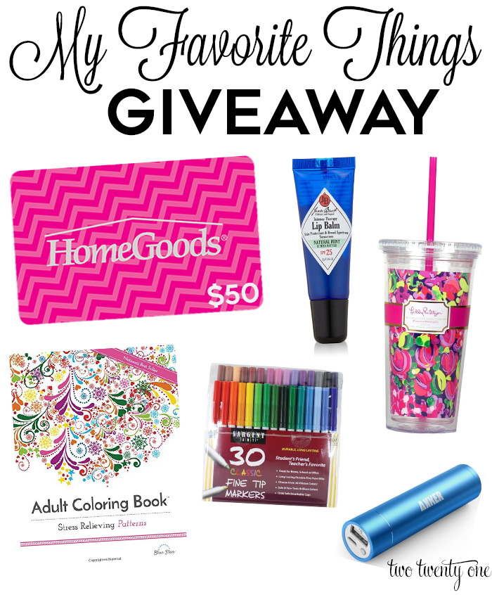 favorite things giveaway - two twenty one
