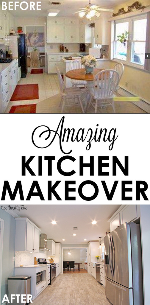 Amazing white kitchen makeover! From old and dated to modern and bright!