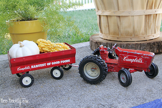 toy tractor and gourds