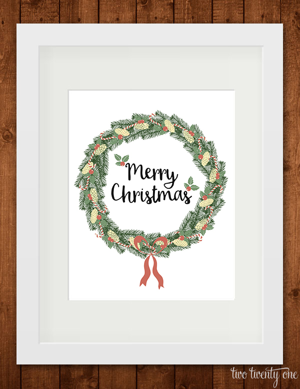 Merry Christmas printable in frame