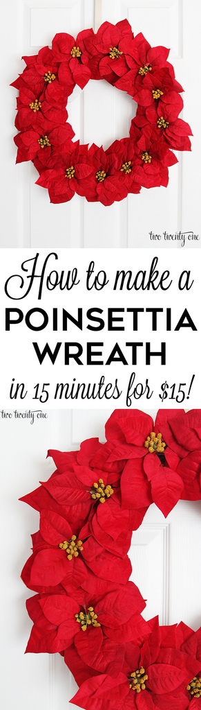 How to make a poinsettia wreath! Only $15 and done in 15 minutes!