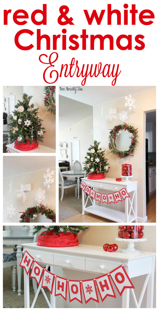 Red and white Christmas entryway!