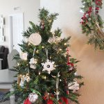 Tabletop Christmas tree with sentimental ornaments