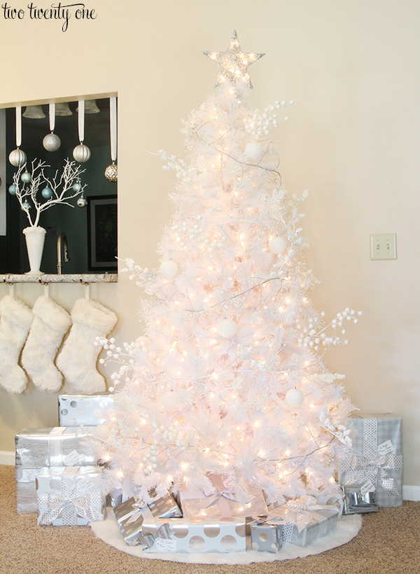 White Christmas Tree With And Silver Decorations