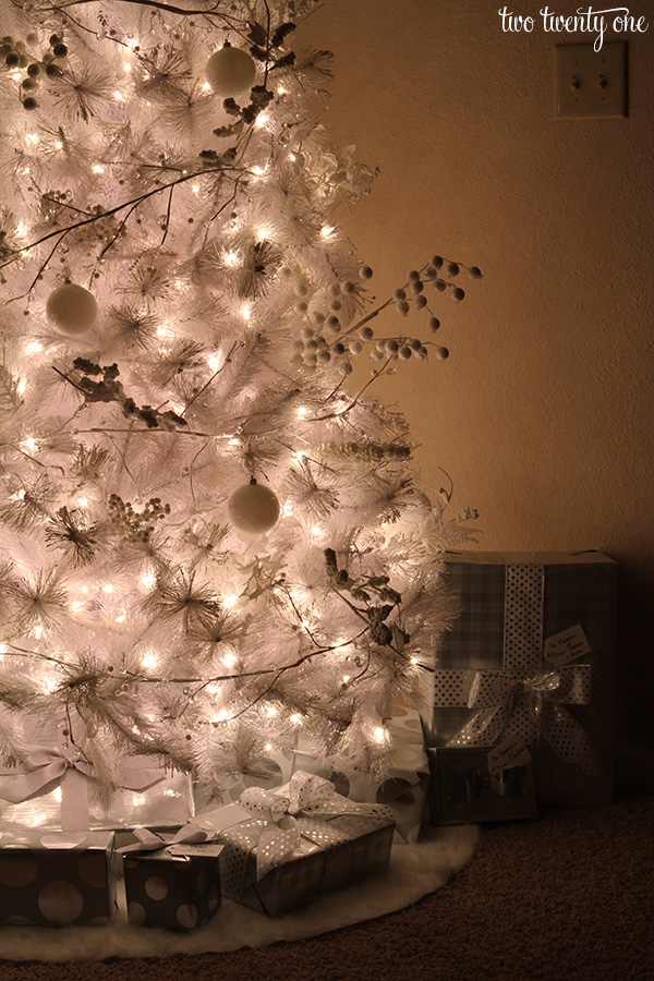 White Christmas tree with white and silver decorations