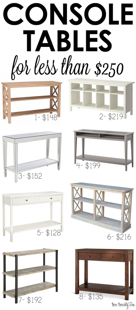 Inexpensive console tables! All are less than $250!