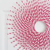 V Day Paper Straw Wreath
