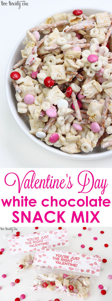 Valentine's Day white chocolate snack mix + free printable!