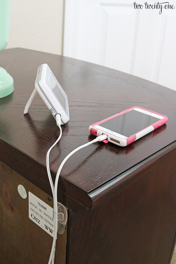 how to organize and hide bedside cords with one simple trick