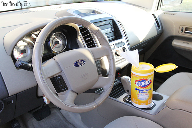 disinfecting the car