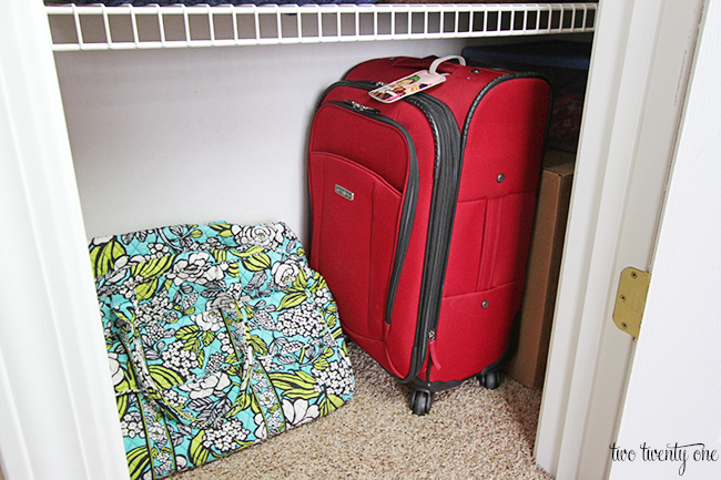 linen closet luggage storage